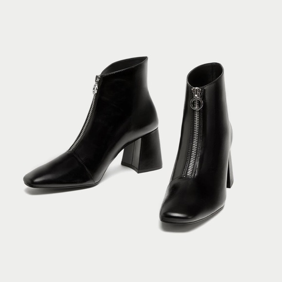 ZARA Genuine Leather O ring zip ankle boots 37 NWT